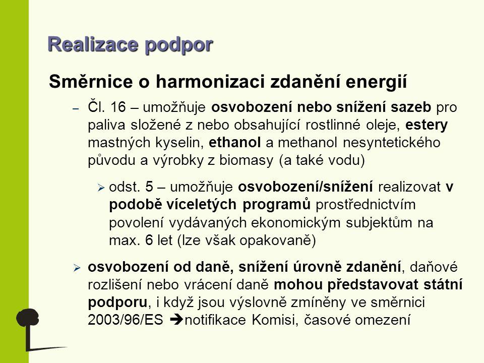 Realizace podpor Směrnice o harmonizaci zdanění energií – Čl. 16 – umožňuje osvobození nebo snížení sazeb pro paliva složené z nebo obsahující rostlin