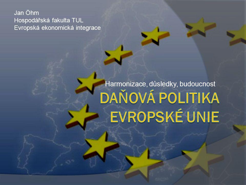 Obsah  Úvod – daňová politika obecně  Legislativní rámec  Harmonizace daňové politiky  Přímé daně korporátní daně daň z příjmů fyzických osob daň z úspor a kapitálových příjmů  Nepřímé daně DPH spotřební daně  Ostatní ustanovení  Závěr – budoucnost daňové politiky Daňová politika EU2