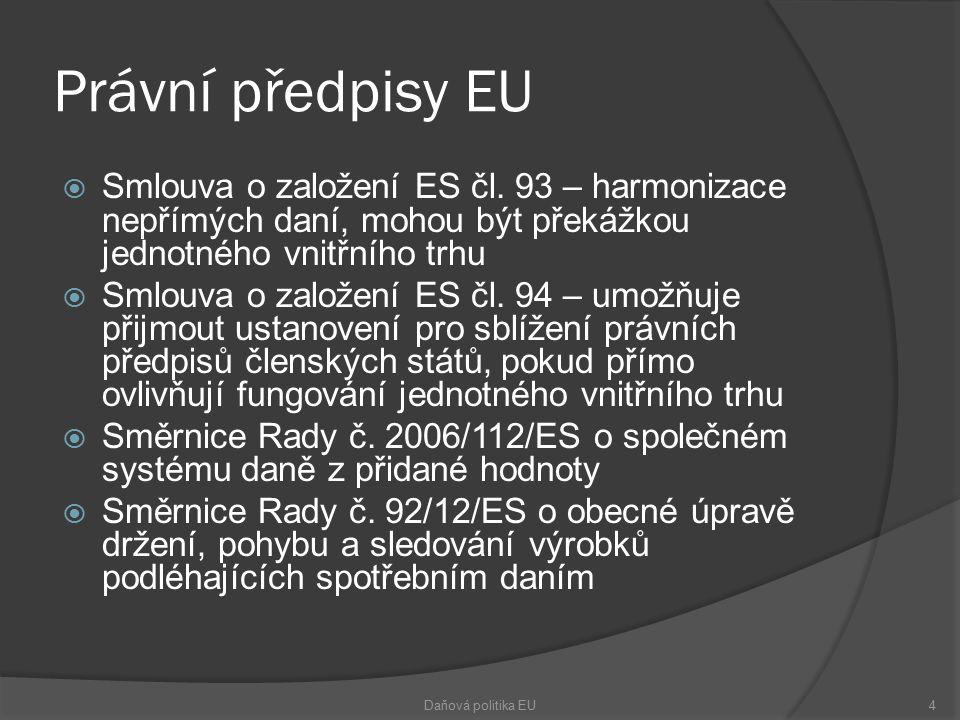 Právní předpisy EU  Smlouva o založení ES čl. 93 – harmonizace nepřímých daní, mohou být překážkou jednotného vnitřního trhu  Smlouva o založení ES