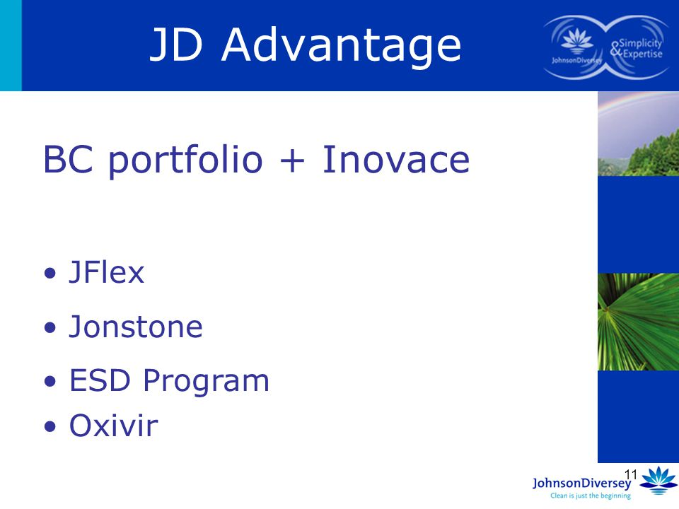 11 JD Advantage BC portfolio + Inovace JFlex Jonstone ESD Program Oxivir
