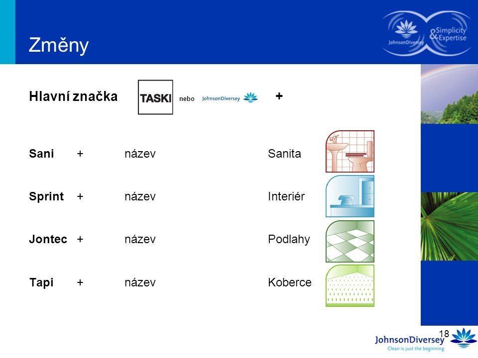 18 Změny Hlavní značka nebo + Sani+názevSanita Sprint+názevInteriér Jontec+názevPodlahy Tapi+názevKoberce