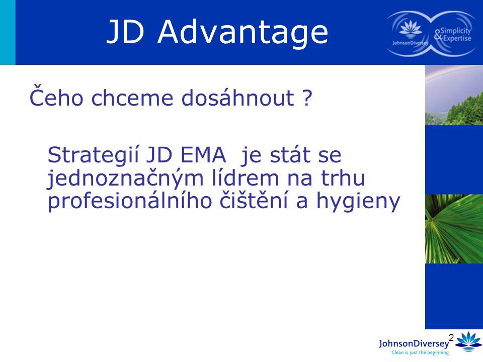 2 Čeho chceme dosáhnout ? Strategií JD EMA je stát se jednoznačným lídrem na trhu profesionálního čištění a hygieny JD Advantage