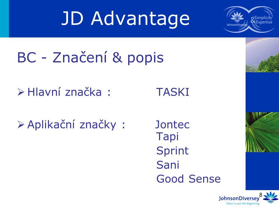 8 BC - Značení & popis  Hlavní značka :TASKI  Aplikační značky : Jontec Tapi Sprint Sani Good Sense JD Advantage