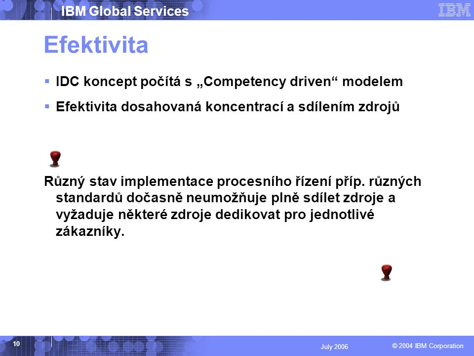"© 2004 IBM Corporation IBM Global Services 10 July 2006 Efektivita  IDC koncept počítá s ""Competency driven modelem  Efektivita dosahovaná koncentrací a sdílením zdrojů Různý stav implementace procesního řízení příp."