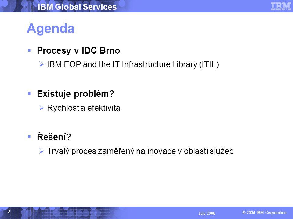 © 2004 IBM Corporation IBM Global Services 13 July 2006 Diskuse Děkuji za pozornost