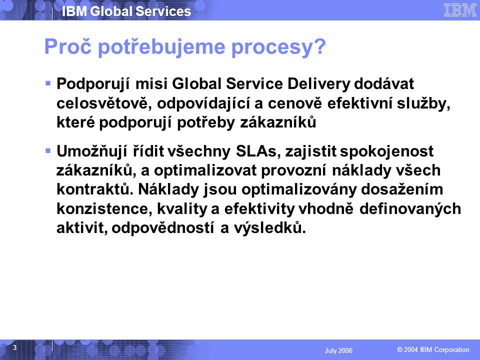 © 2004 IBM Corporation IBM Global Services 4 July 2006 Přínosy procesů Defacto jediná možnost jak potenciální zákazníkům prokázat možnosti a schopnost IDC trvale uspokojovat jejich požadavky.