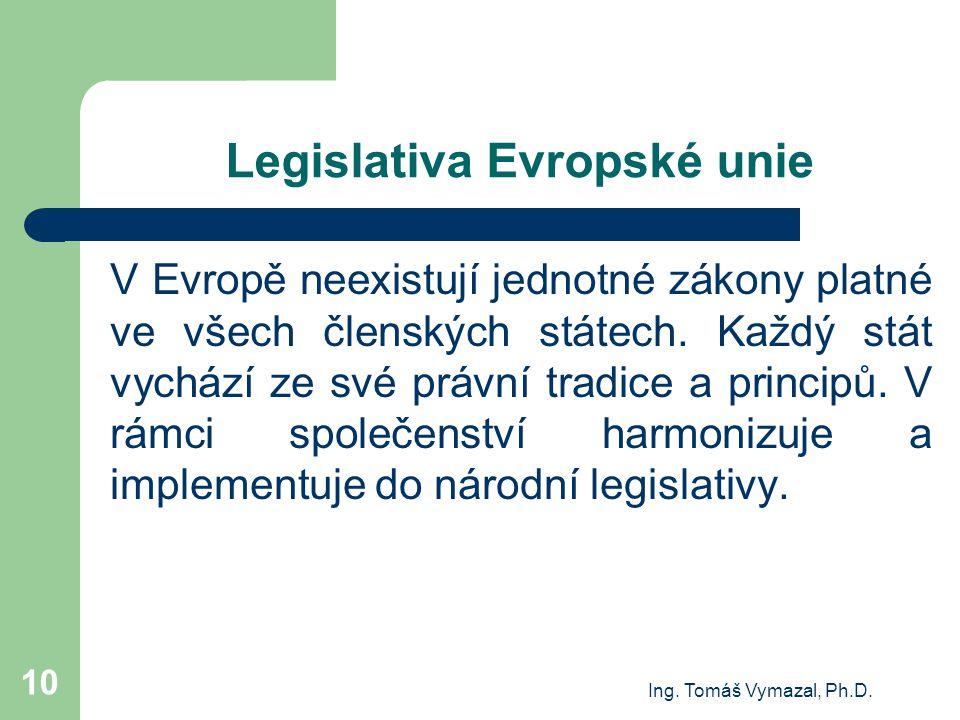Ing. Tomáš Vymazal, Ph.D. 10 Legislativa Evropské unie V Evropě neexistují jednotné zákony platné ve všech členských státech. Každý stát vychází ze sv