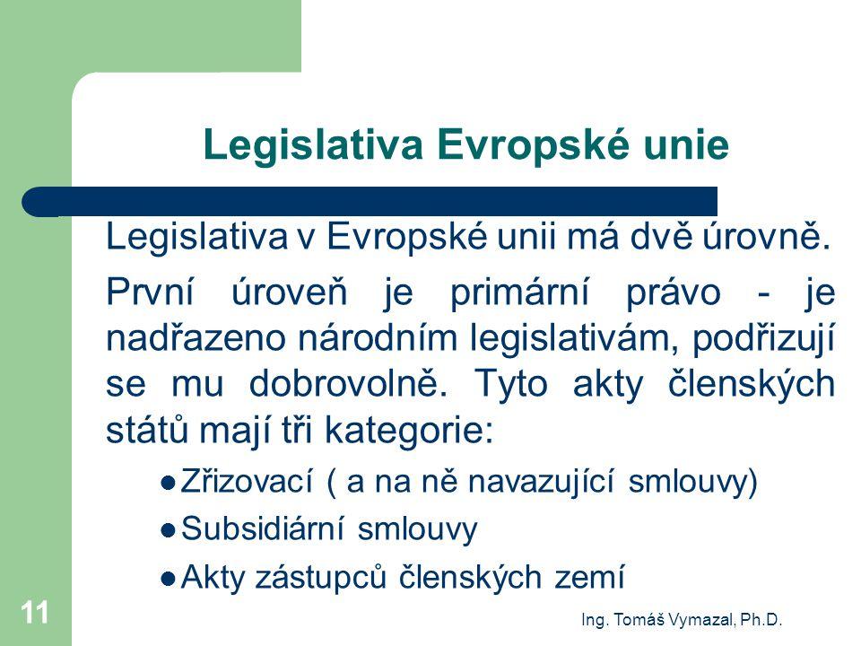 Ing. Tomáš Vymazal, Ph.D. 11 Legislativa Evropské unie Legislativa v Evropské unii má dvě úrovně. První úroveň je primární právo - je nadřazeno národn