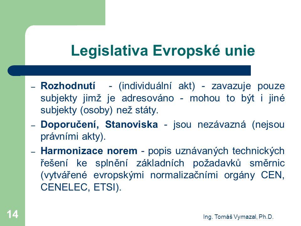 Ing. Tomáš Vymazal, Ph.D. 14 Legislativa Evropské unie – Rozhodnutí - (individuální akt) - zavazuje pouze subjekty jimž je adresováno - mohou to být i