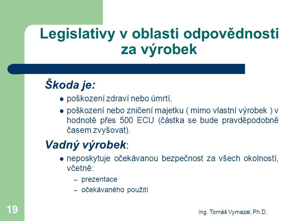Ing. Tomáš Vymazal, Ph.D. 19 Legislativy v oblasti odpovědnosti za výrobek Škoda je: poškození zdraví nebo úmrtí, poškození nebo zničení majetku ( mim