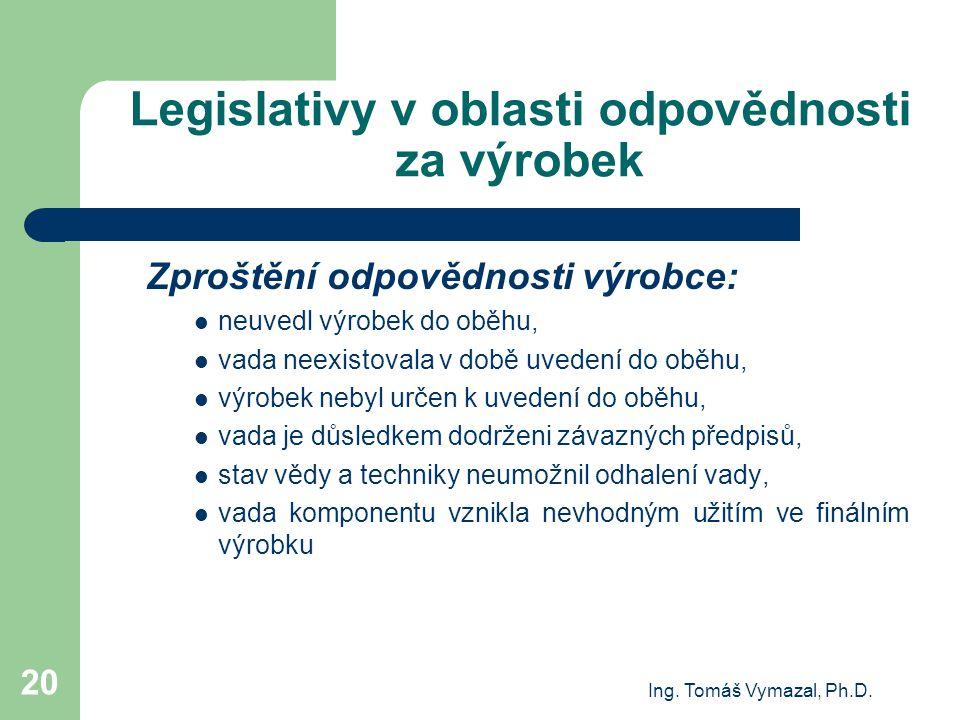 Ing. Tomáš Vymazal, Ph.D. 20 Legislativy v oblasti odpovědnosti za výrobek Zproštění odpovědnosti výrobce: neuvedl výrobek do oběhu, vada neexistovala