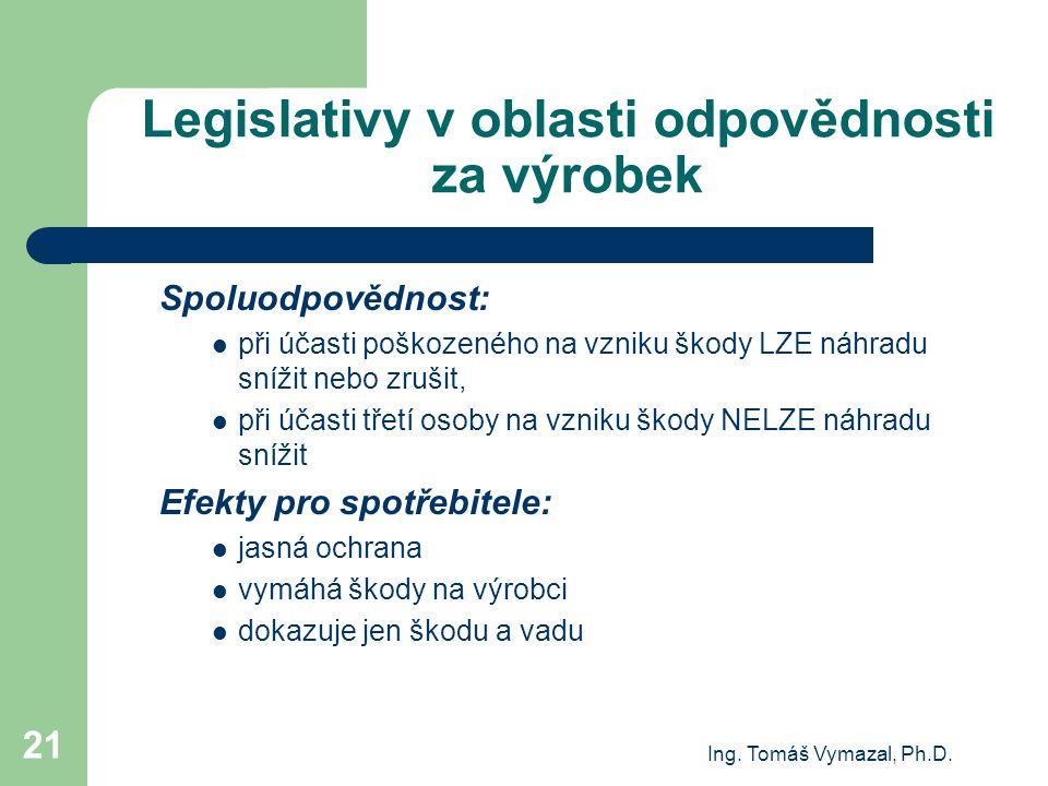 Ing. Tomáš Vymazal, Ph.D. 21 Legislativy v oblasti odpovědnosti za výrobek Spoluodpovědnost: při účasti poškozeného na vzniku škody LZE náhradu snížit