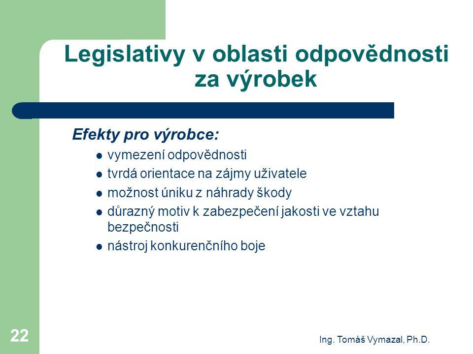 Ing. Tomáš Vymazal, Ph.D. 22 Legislativy v oblasti odpovědnosti za výrobek Efekty pro výrobce: vymezení odpovědnosti tvrdá orientace na zájmy uživatel