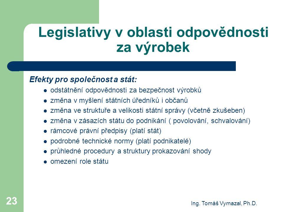 Ing. Tomáš Vymazal, Ph.D. 23 Legislativy v oblasti odpovědnosti za výrobek Efekty pro společnost a stát: odstátnění odpovědnosti za bezpečnost výrobků