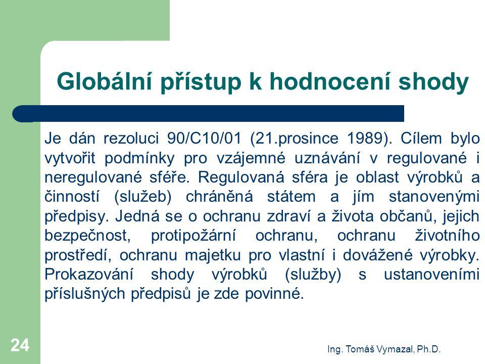 Ing. Tomáš Vymazal, Ph.D. 24 Globální přístup k hodnocení shody Je dán rezoluci 90/C10/01 (21.prosince 1989). Cílem bylo vytvořit podmínky pro vzájemn