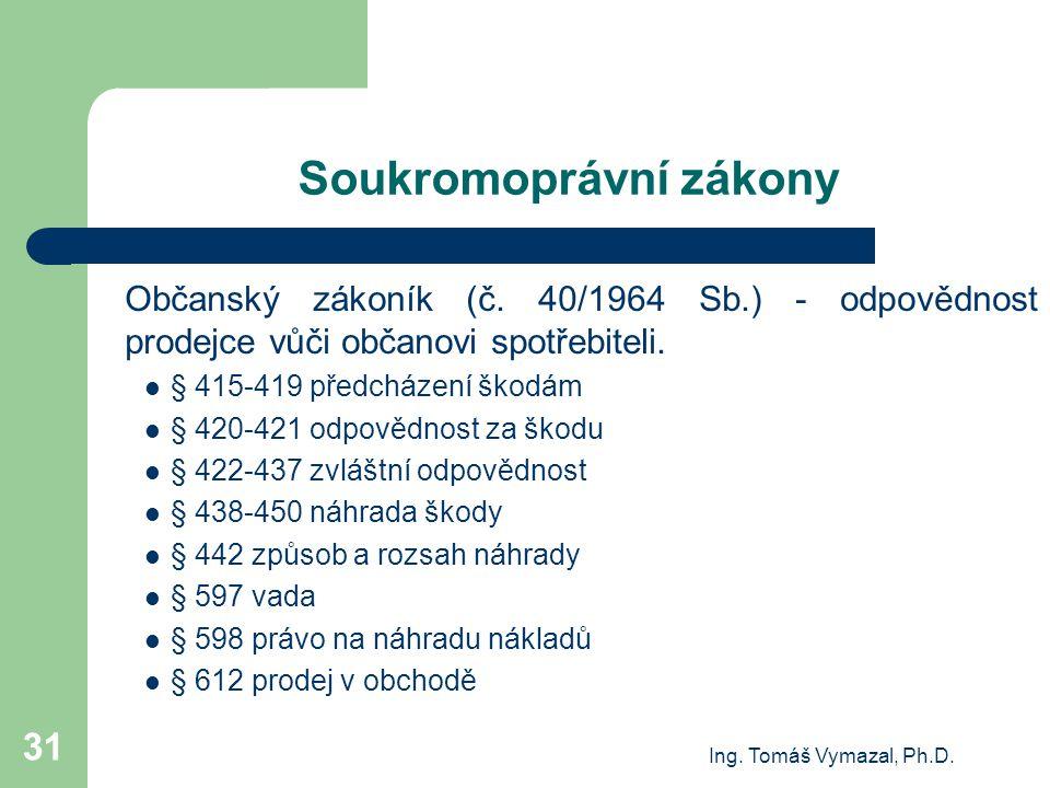Ing. Tomáš Vymazal, Ph.D. 31 Soukromoprávní zákony Občanský zákoník (č. 40/1964 Sb.) - odpovědnost prodejce vůči občanovi spotřebiteli. § 415-419 před
