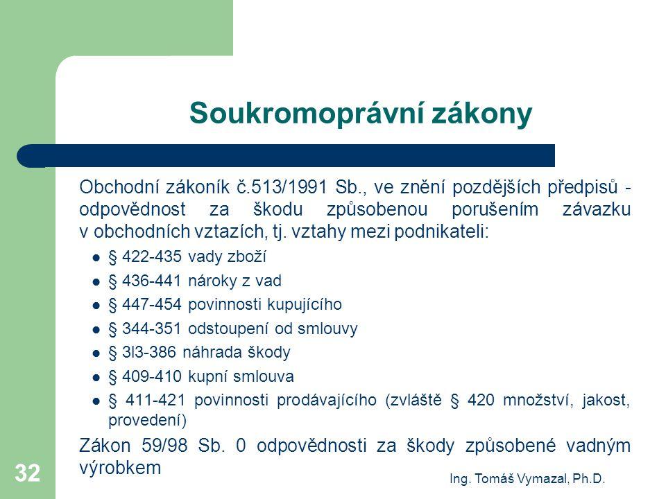 Ing. Tomáš Vymazal, Ph.D. 32 Soukromoprávní zákony Obchodní zákoník č.513/1991 Sb., ve znění pozdějších předpisů - odpovědnost za škodu způsobenou por