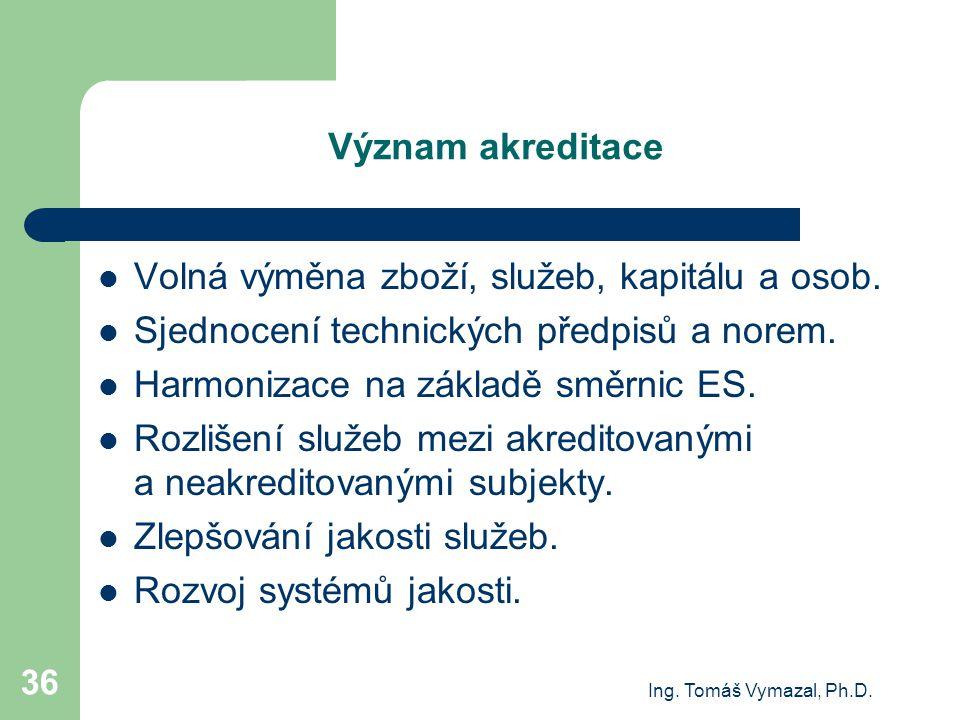 Ing. Tomáš Vymazal, Ph.D. 36 Význam akreditace Volná výměna zboží, služeb, kapitálu a osob. Sjednocení technických předpisů a norem. Harmonizace na zá