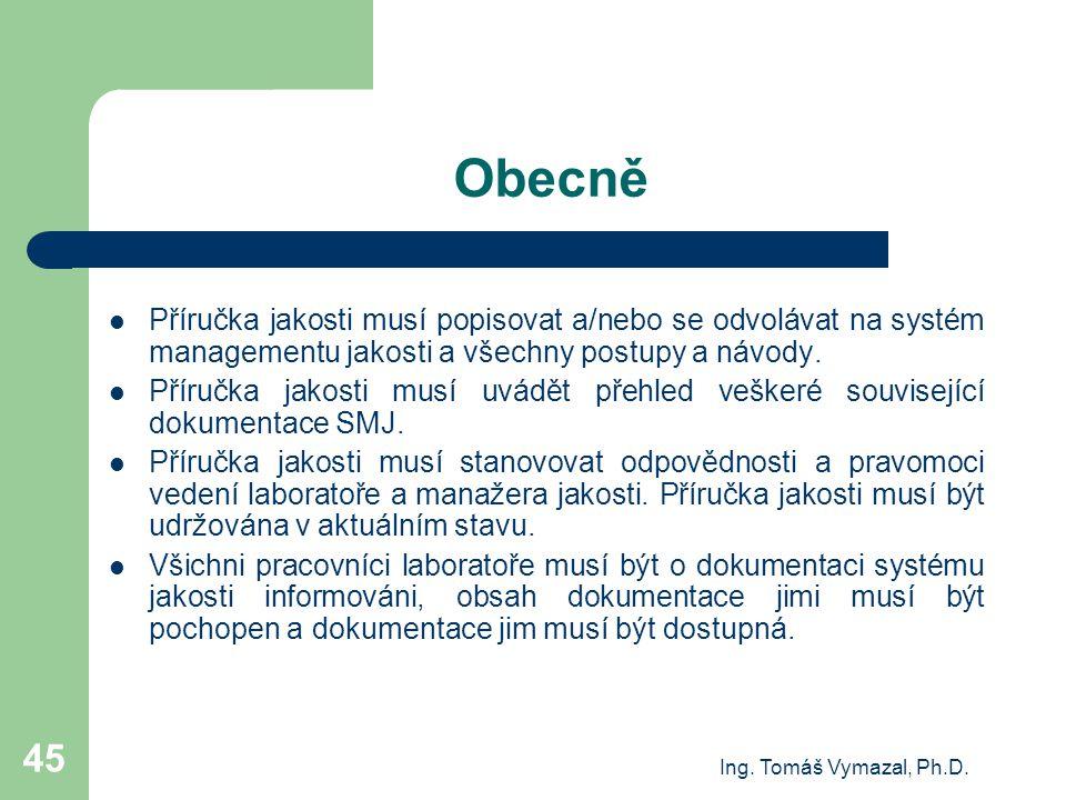 Ing. Tomáš Vymazal, Ph.D. 45 Obecně Příručka jakosti musí popisovat a/nebo se odvolávat na systém managementu jakosti a všechny postupy a návody. Přír