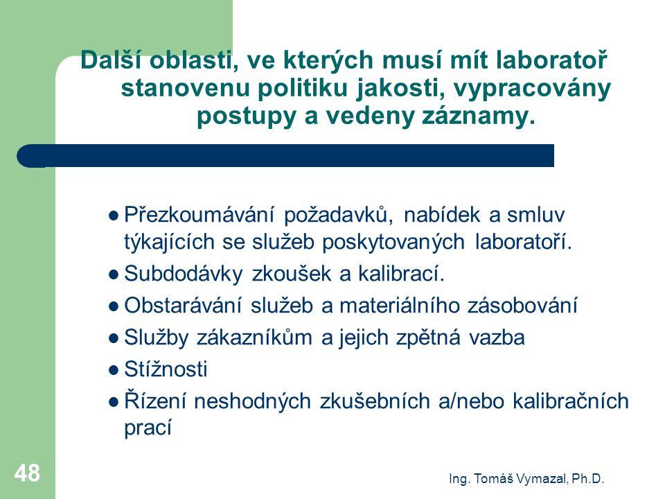 Ing. Tomáš Vymazal, Ph.D. 48 Další oblasti, ve kterých musí mít laboratoř stanovenu politiku jakosti, vypracovány postupy a vedeny záznamy. Přezkoumáv