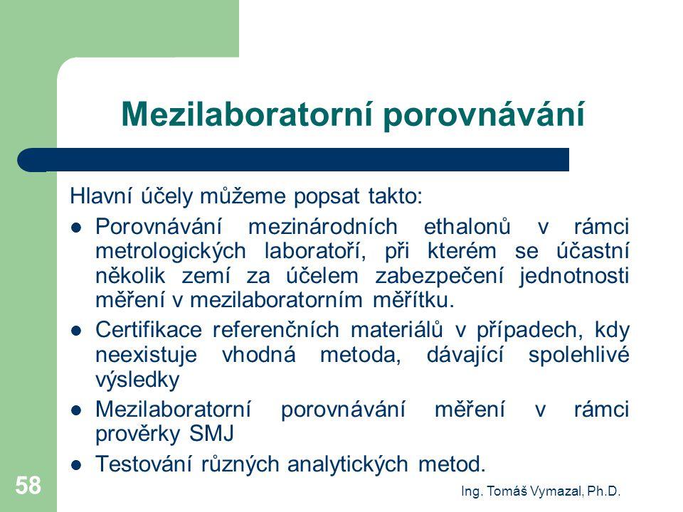 Ing. Tomáš Vymazal, Ph.D. 58 Mezilaboratorní porovnávání Hlavní účely můžeme popsat takto: Porovnávání mezinárodních ethalonů v rámci metrologických l