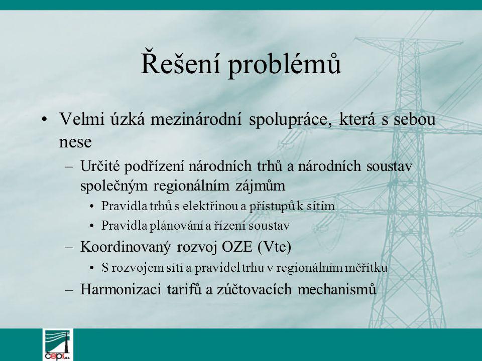 Řešení problémů Velmi úzká mezinárodní spolupráce, která s sebou nese –Určité podřízení národních trhů a národních soustav společným regionálním zájmům Pravidla trhů s elektřinou a přístupů k sítím Pravidla plánování a řízení soustav –Koordinovaný rozvoj OZE (Vte) S rozvojem sítí a pravidel trhu v regionálním měřítku –Harmonizaci tarifů a zúčtovacích mechanismů