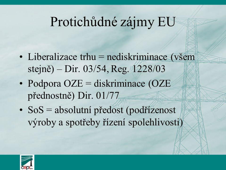 Protichůdné zájmy EU Liberalizace trhu = nediskriminace (všem stejně) – Dir.