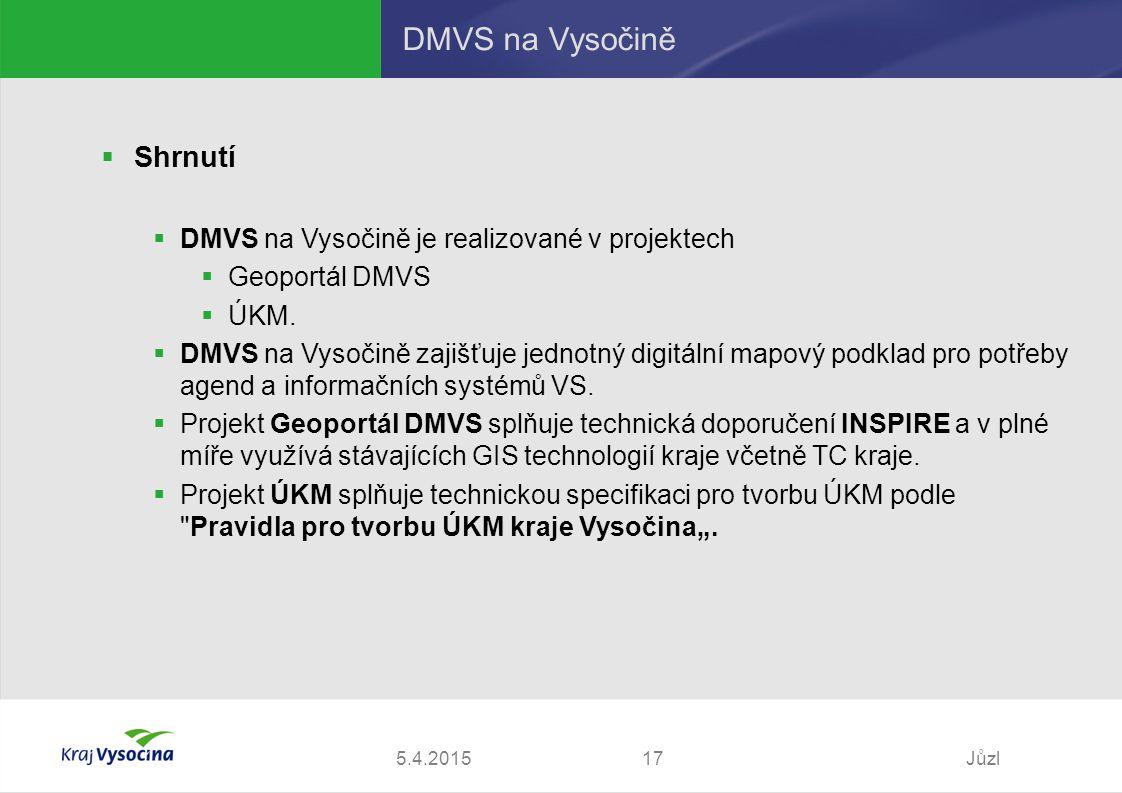 5.4.2015Jůzl17 DMVS na Vysočině  Shrnutí  DMVS na Vysočině je realizované v projektech  Geoportál DMVS  ÚKM.