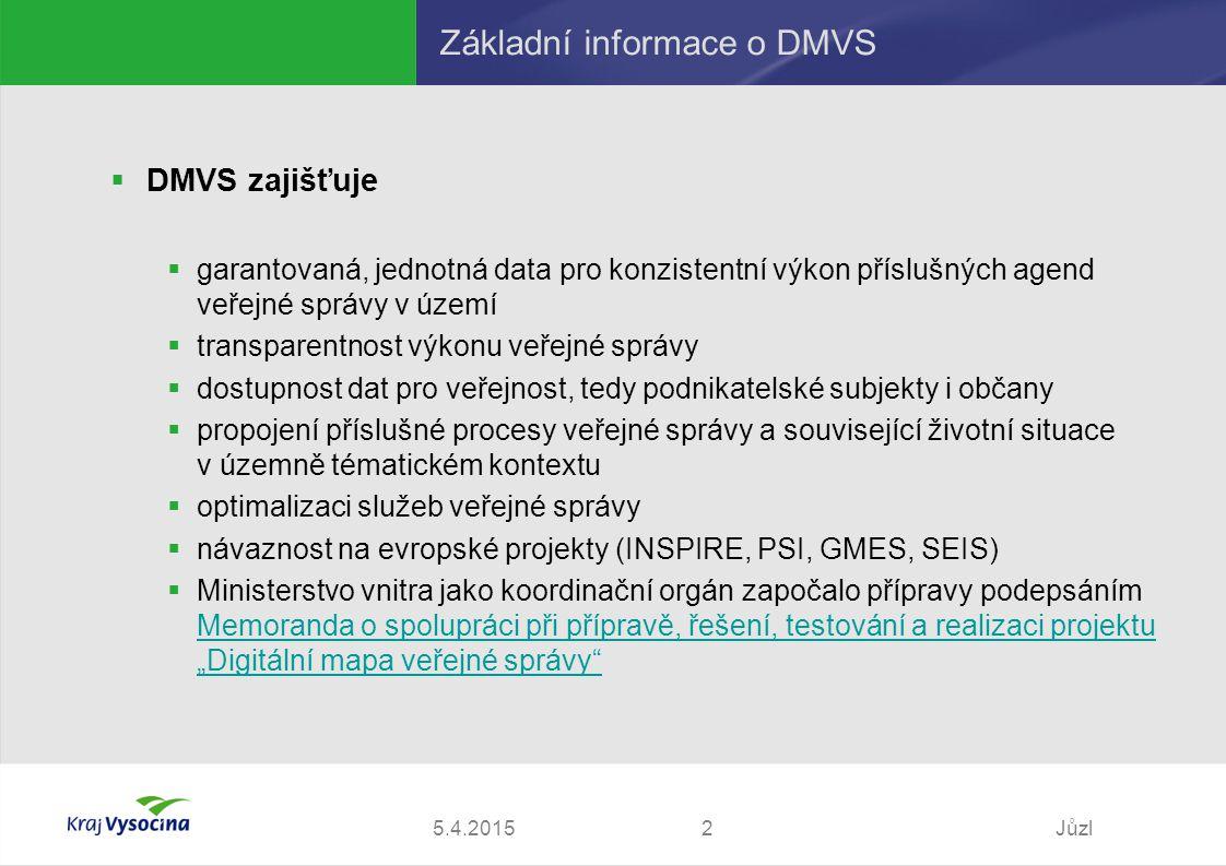 """5.4.2015Jůzl2 Základní informace o DMVS  DMVS zajišťuje  garantovaná, jednotná data pro konzistentní výkon příslušných agend veřejné správy v území  transparentnost výkonu veřejné správy  dostupnost dat pro veřejnost, tedy podnikatelské subjekty i občany  propojení příslušné procesy veřejné správy a související životní situace v územně tématickém kontextu  optimalizaci služeb veřejné správy  návaznost na evropské projekty (INSPIRE, PSI, GMES, SEIS)  Ministerstvo vnitra jako koordinační orgán započalo přípravy podepsáním Memoranda o spolupráci při přípravě, řešení, testování a realizaci projektu """"Digitální mapa veřejné správy Memoranda o spolupráci při přípravě, řešení, testování a realizaci projektu """"Digitální mapa veřejné správy"""