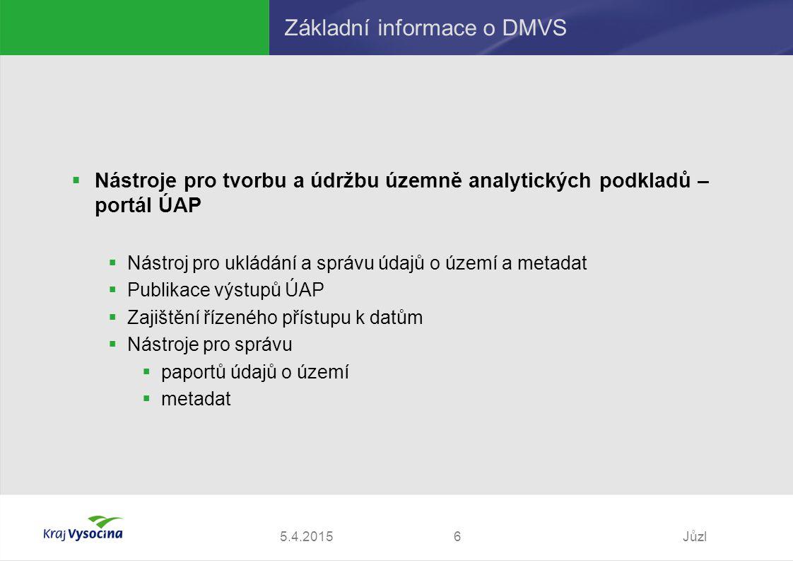 5.4.2015Jůzl6 Základní informace o DMVS  Nástroje pro tvorbu a údržbu územně analytických podkladů – portál ÚAP  Nástroj pro ukládání a správu údajů o území a metadat  Publikace výstupů ÚAP  Zajištění řízeného přístupu k datům  Nástroje pro správu  paportů údajů o území  metadat