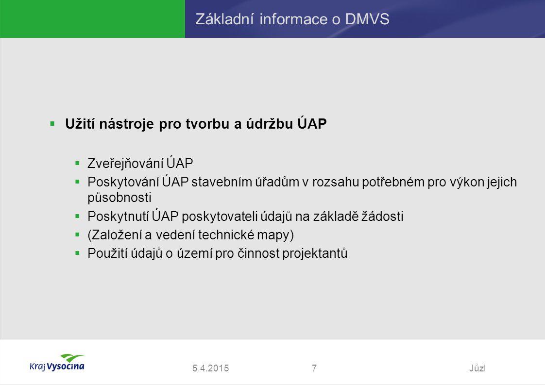 5.4.2015Jůzl7 Základní informace o DMVS  Užití nástroje pro tvorbu a údržbu ÚAP  Zveřejňování ÚAP  Poskytování ÚAP stavebním úřadům v rozsahu potřebném pro výkon jejich působnosti  Poskytnutí ÚAP poskytovateli údajů na základě žádosti  (Založení a vedení technické mapy)  Použití údajů o území pro činnost projektantů
