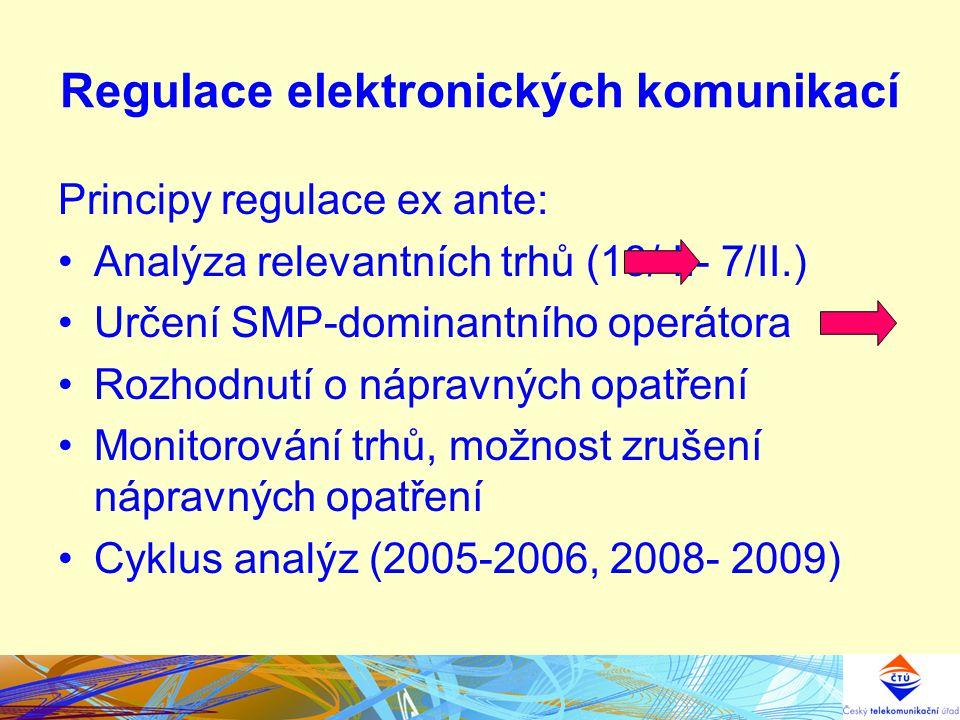 Regulace elektronických komunikací Principy regulace ex ante: Analýza relevantních trhů (18/ I.- 7/II.) Určení SMP-dominantního operátora Rozhodnutí o nápravných opatření Monitorování trhů, možnost zrušení nápravných opatření Cyklus analýz (2005-2006, 2008- 2009)