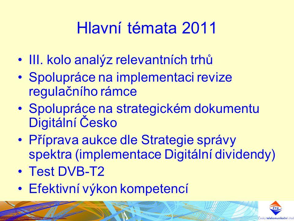 Hlavní témata 2011 III. kolo analýz relevantních trhů Spolupráce na implementaci revize regulačního rámce Spolupráce na strategickém dokumentu Digitál