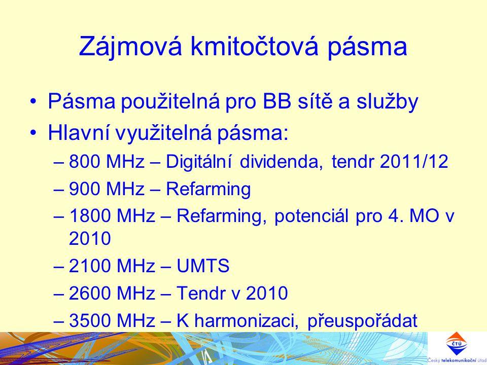Zájmová kmitočtová pásma Pásma použitelná pro BB sítě a služby Hlavní využitelná pásma: –800 MHz – Digitální dividenda, tendr 2011/12 –900 MHz – Refar