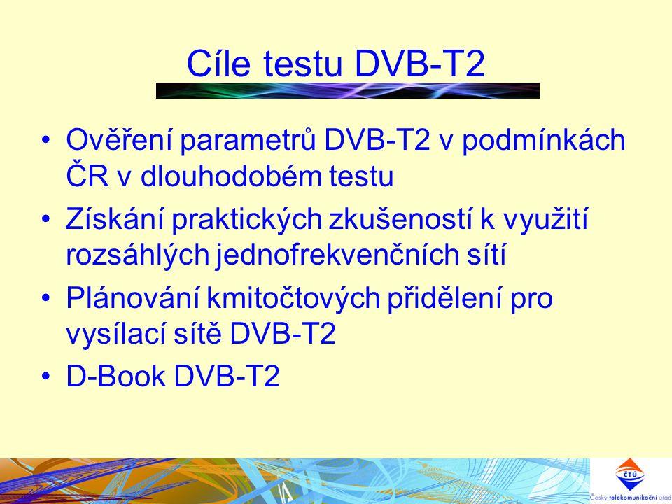 Cíle testu DVB-T2 Ověření parametrů DVB-T2 v podmínkách ČR v dlouhodobém testu Získání praktických zkušeností k využití rozsáhlých jednofrekvenčních sítí Plánování kmitočtových přidělení pro vysílací sítě DVB-T2 D-Book DVB-T2