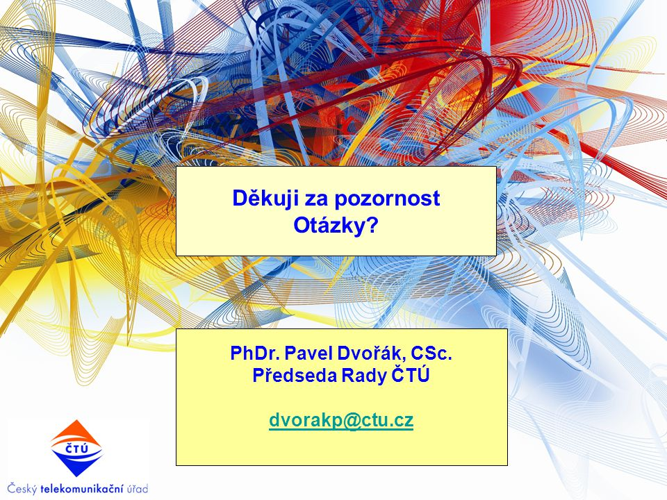 Děkuji za pozornost Otázky? PhDr. Pavel Dvořák, CSc. Předseda Rady ČTÚ dvorakp@ctu.cz