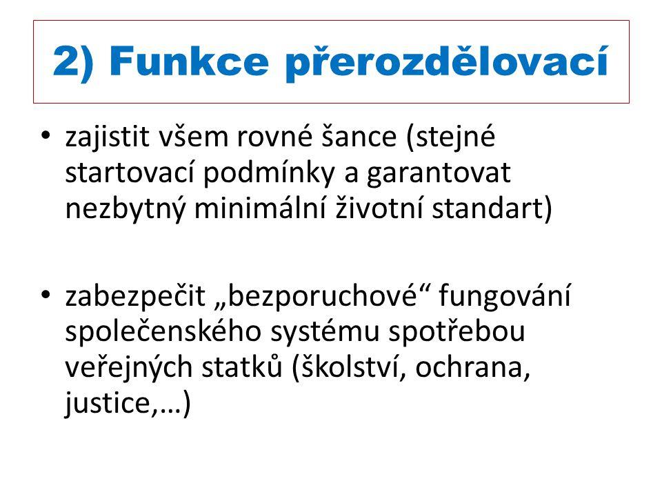 """2) Funkce přerozdělovací zajistit všem rovné šance (stejné startovací podmínky a garantovat nezbytný minimální životní standart) zabezpečit """"bezporuch"""