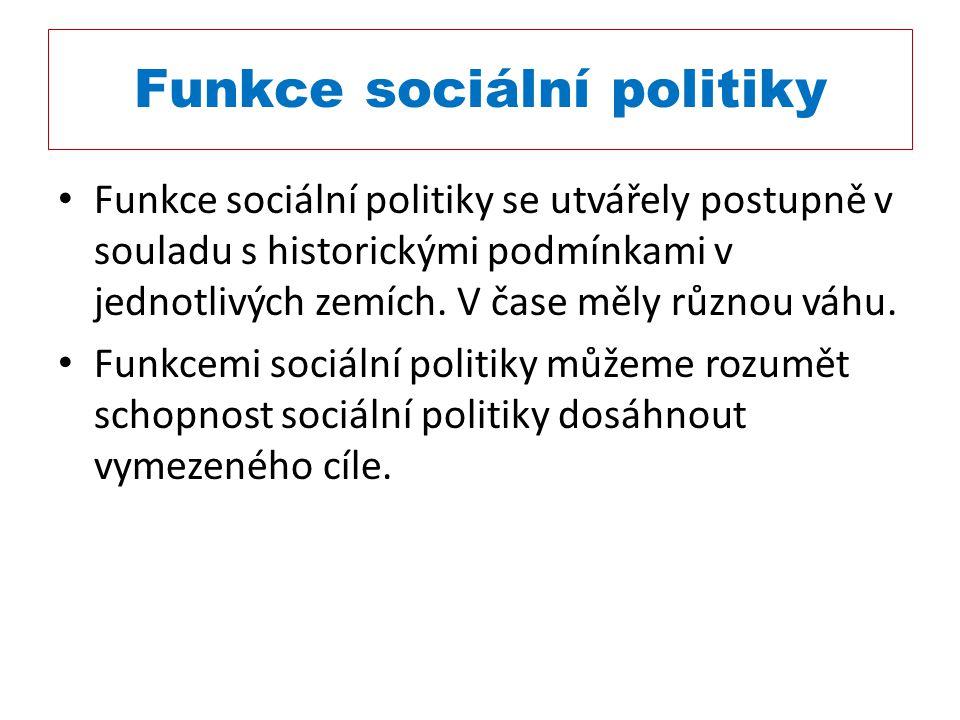 Funkce sociální politiky Funkce sociální politiky se utvářely postupně v souladu s historickými podmínkami v jednotlivých zemích. V čase měly různou v
