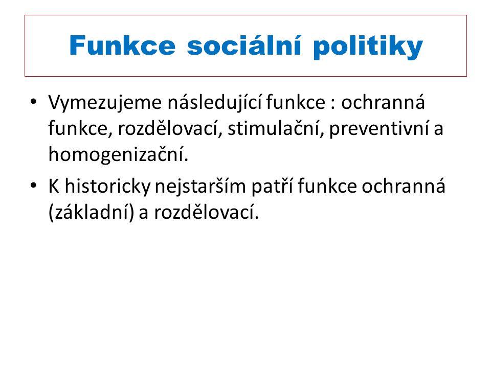 Funkce sociální politiky Vymezujeme následující funkce : ochranná funkce, rozdělovací, stimulační, preventivní a homogenizační. K historicky nejstarší