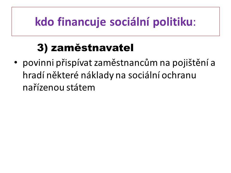 kdo financuje sociální politiku: 3) zaměstnavatel povinni přispívat zaměstnancům na pojištění a hradí některé náklady na sociální ochranu nařízenou st