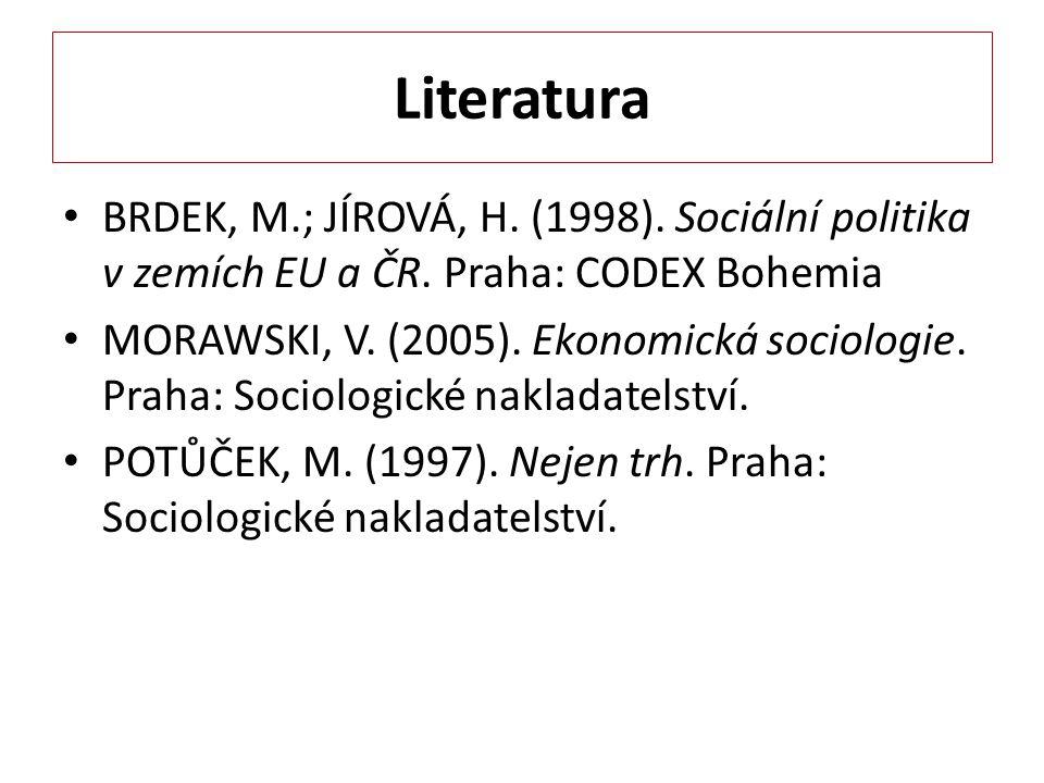 Literatura BRDEK, M.; JÍROVÁ, H. (1998). Sociální politika v zemích EU a ČR. Praha: CODEX Bohemia MORAWSKI, V. (2005). Ekonomická sociologie. Praha: S
