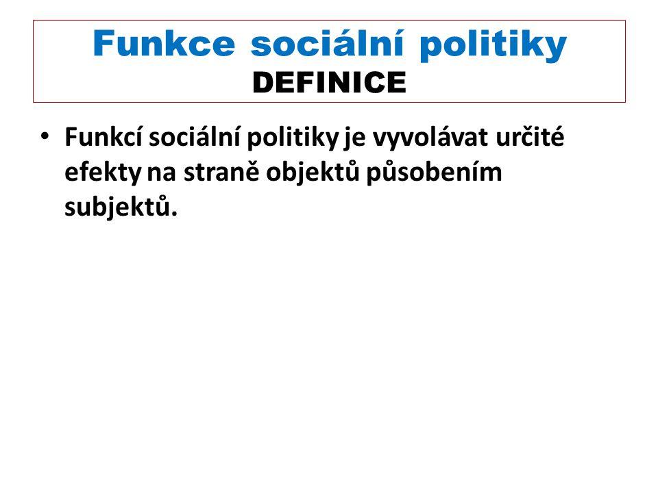 Funkce sociální politiky DEFINICE Funkcí sociální politiky je vyvolávat určité efekty na straně objektů působením subjektů.