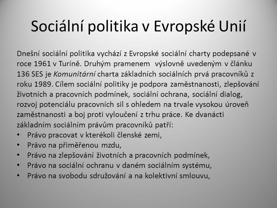 Sociální politika v Evropské Unií Právo na odborný výcvik, Právo na rovnoprávné zacházení u mužů a žen, Právo zaměstnanců na informaci, konzultaci a spolurozhodování, Právo na ochranu zdraví a bezpečnost při práci, Právo na ochranu dětí a mládeže, Právo na zajištění minimální životní úrovně ve stáří Právo na sociální a profesní integraci v případě tělesného postižení.