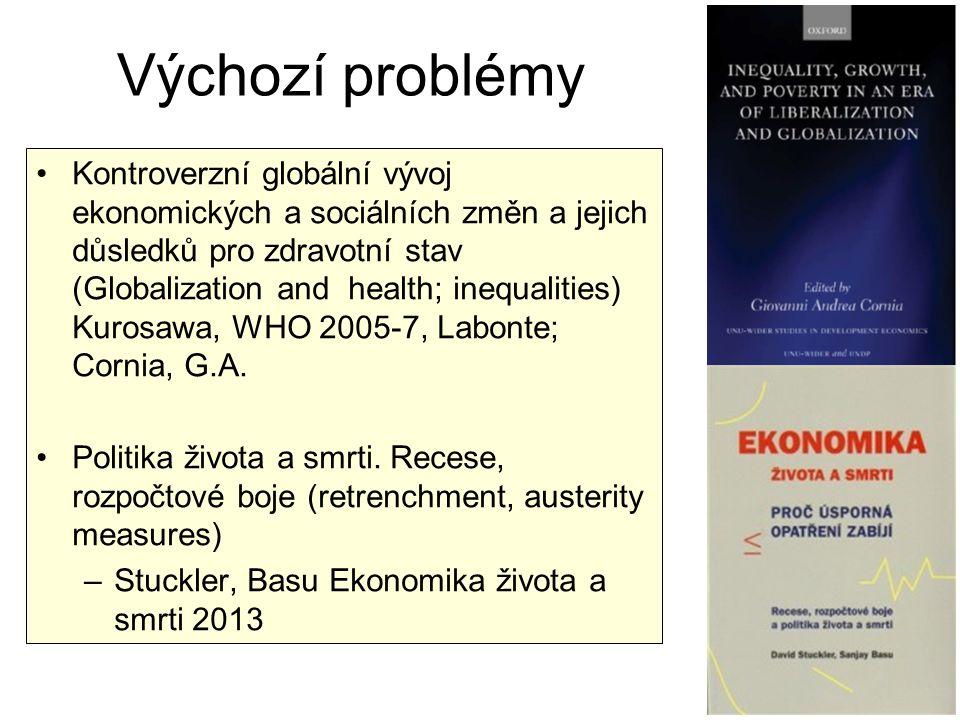 Výchozí problémy Kontroverzní globální vývoj ekonomických a sociálních změn a jejich důsledků pro zdravotní stav (Globalization and health; inequaliti