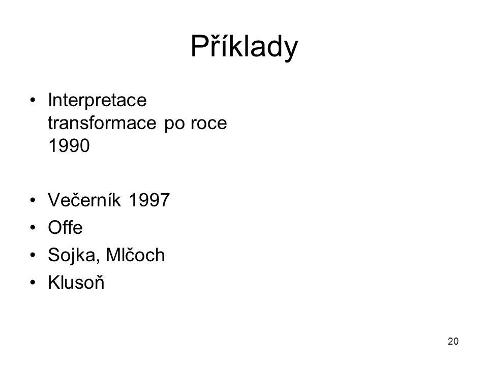 Příklady Interpretace transformace po roce 1990 Večerník 1997 Offe Sojka, Mlčoch Klusoň 20