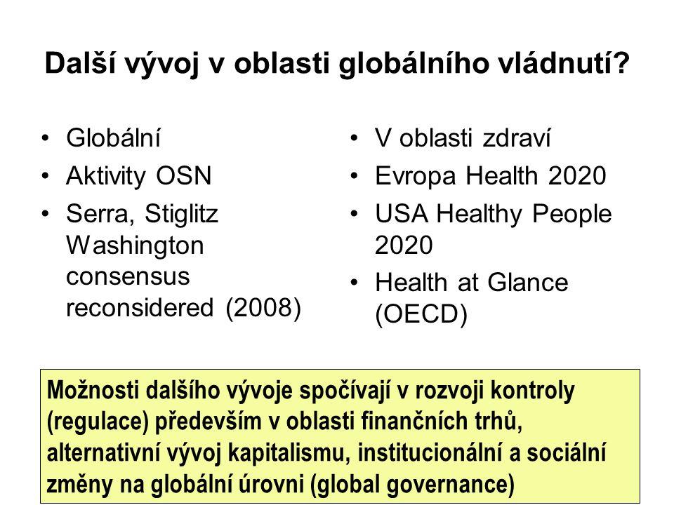 Další vývoj v oblasti globálního vládnutí? Globální Aktivity OSN Serra, Stiglitz Washington consensus reconsidered (2008) V oblasti zdraví Evropa Heal