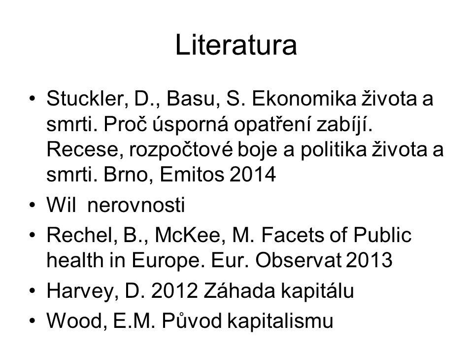 Literatura Stuckler, D., Basu, S. Ekonomika života a smrti. Proč úsporná opatření zabíjí. Recese, rozpočtové boje a politika života a smrti. Brno, Emi