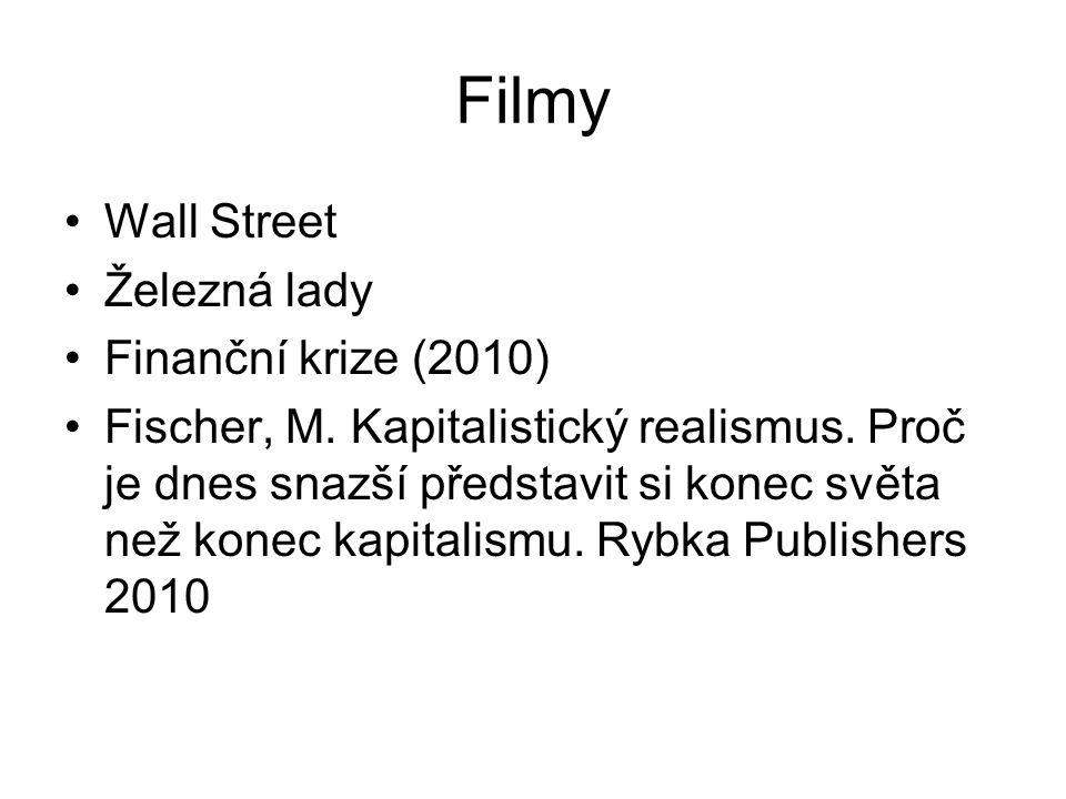 Filmy Wall Street Železná lady Finanční krize (2010) Fischer, M. Kapitalistický realismus. Proč je dnes snazší představit si konec světa než konec kap