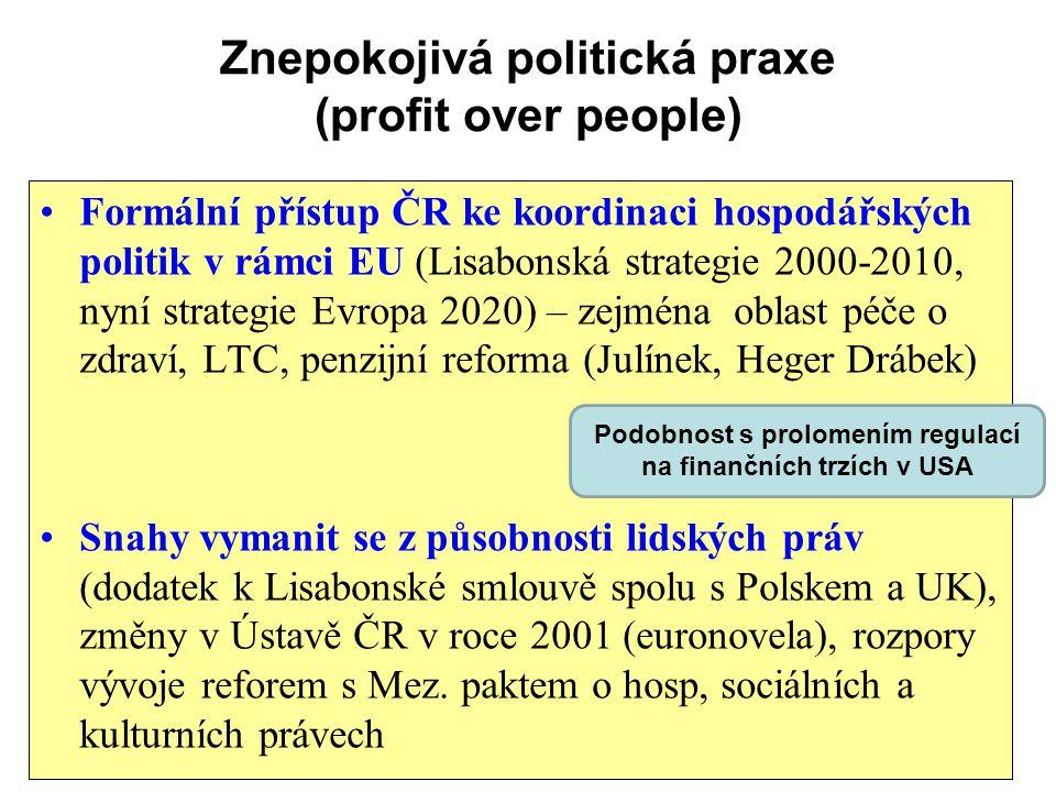 Znepokojivá politická praxe (profit over people) Formální přístup ČR ke koordinaci hospodářských politik v rámci EU (Lisabonská strategie 2000-2010, n