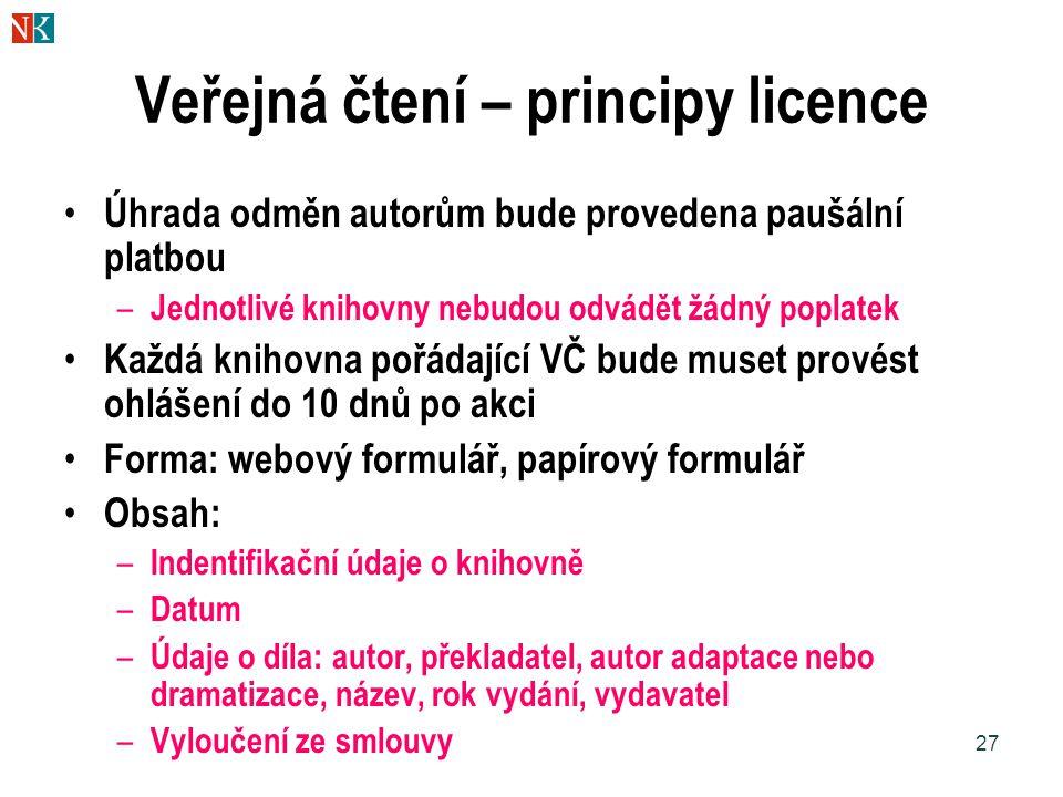 27 Veřejná čtení – principy licence Úhrada odměn autorům bude provedena paušální platbou – Jednotlivé knihovny nebudou odvádět žádný poplatek Každá knihovna pořádající VČ bude muset provést ohlášení do 10 dnů po akci Forma: webový formulář, papírový formulář Obsah: – Indentifikační údaje o knihovně – Datum – Údaje o díla: autor, překladatel, autor adaptace nebo dramatizace, název, rok vydání, vydavatel – Vyloučení ze smlouvy